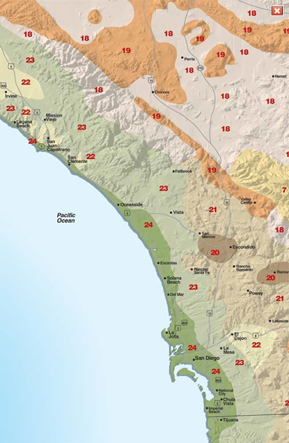 Map Of California Climate Zones.San Diego Region Sunset Western Garden Collection