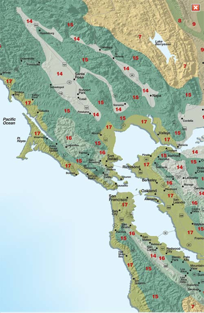 Map Of California Climate Zones.San Francisco Bay Area And Inland Sunset Western Garden Collection